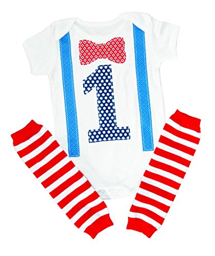 1st Birthday Boy Outfit First Bow Tie Suspenders Leg Warmers One Set 12-18 months