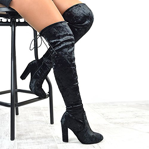 ESSEX GLAM Womens Over The Knee Boots Lace Up Tie Zipper Block High Heel Crushed Velvet Round Toe Boots Black Velvet wIf5J