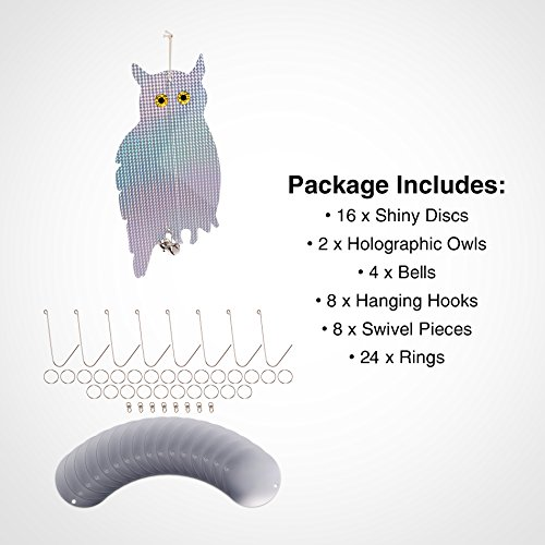 Gardening & Lawn Care Repellents Reusable Revolution Holographic Owl Bird  Scare Repeller - Reflective Hanging Bird Deterrent, Effective for Pigeons,