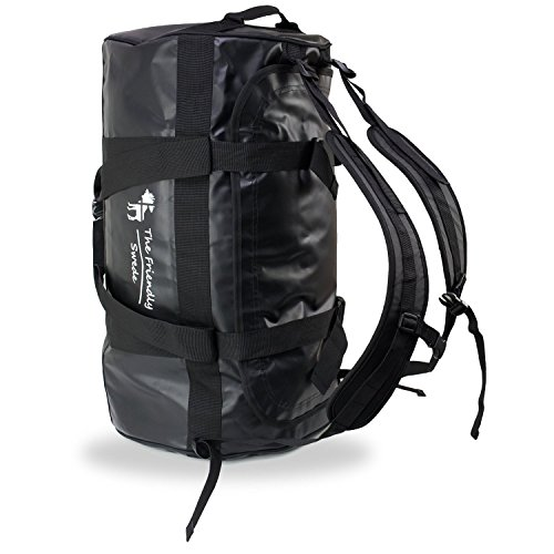 The Friendly Swede 60L Water-proof combined Duffel Dry Bag and Backpack (Black)