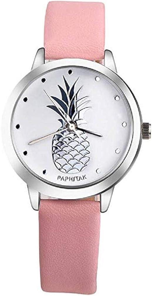 Reloj de Señoras de Moda, Scpink Reloj de Cuarzo Femenino Clásico Reloj de Cuarzo Reloj Impermeable Reloj de Acero Inoxidable Elegante Reloj de Cuero Chica