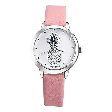 ¡Promoción Últimas Mujeres Relojes de Cuarzo piña Relojes para Mujer Relojes de Cuero Reloj de Mujer (Rosa): Amazon.es: Relojes