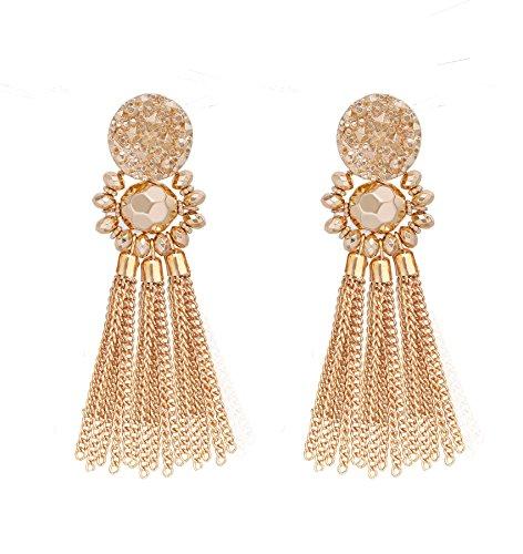 Bohemian Statement Tassel Chandelier Drop Dangle Earrings with Cassandra Button Stud (gold) by LPON (Image #7)'