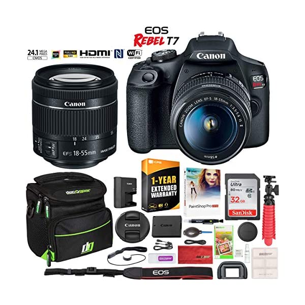 51kRhdw%2BDSL. SS600  - Canon EOS Rebel T7 DSLR Camera with EF-S 18-55mm f/3.5-5.6 is II Lens Essential Accessory Bundle with Deco Gear…