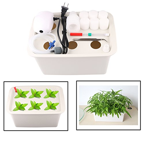 Aunifun Hydroponics Grower Kit DIY Self Watering Indoor Hydroponics Tools DWC Hydroponic System Planting Container Include Aquarium Air Pump Buoy Planting - Hydroponic Kit
