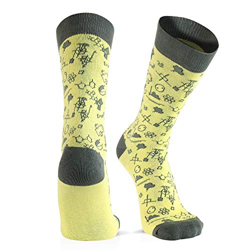 Cool Socks For Men: Mens Funny Dress Socks: Novelty Crazy & Funky Colorful Sock: Science Physics Yellow