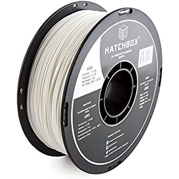 HATCHBOX 3D ABS-1KG1.75-WHT ABS 3D Printer Filament, Dimensional Accuracy +/- 0.05 mm, 1 kg Spool, 1.75 mm, White