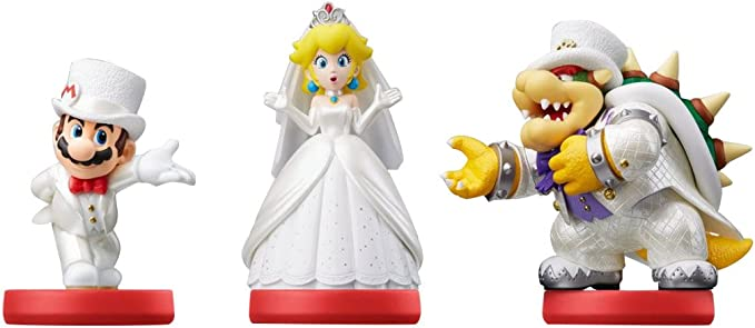 Amiibo Mario Peach Bowser Wedding 3 Pack Super Mario