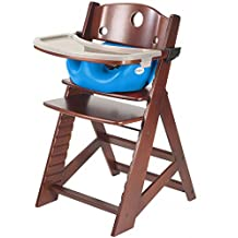 Keekaroo Height Right Highchair with Insert & Tray - Aqua - Mahogany Base