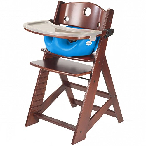Keekaroo Height Right Highchair with Insert & Tray - Aqua - Mahogany - Chair High Mahogany
