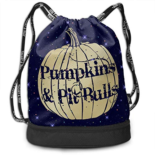 Pumpkins & Pit Bulls Drawstring Bag Multifunctional String Backpack Custom Cinch Backpack Rucksack Gym Bag