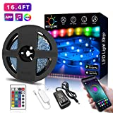 Nexillumi LED Strip Lights with Remote, APP Control Color Changing Rope Lights 16.4ft SMD 5050 RGB Light Strips with IR Remote Sync to Music for TV, Bedroom, Party and Home Decoration
