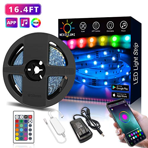 Nexillumi LED Strip Lights with Remote, APP Control Color Changing Rope Lights 16.4ft SMD 5050 RGB Light Strips with IR Remote Sync to Music for TV, Bedroom, Party and Home Decoration (Music Tv)