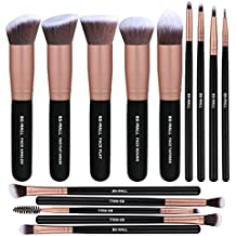 BS-MALL Makeup Brushes Premium Synthetic Foundation Powder Concealers Eye Shadows SMakeup Brush Sets, Rose Golden, 14 Pcs
