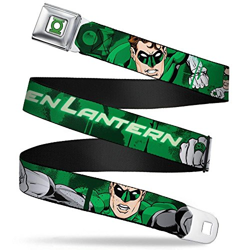 "Buckle-Down Seatbelt Belt - Green Lantern Green Glow w/Text - 1.5"" Wide - 24-38 Inches in Length"
