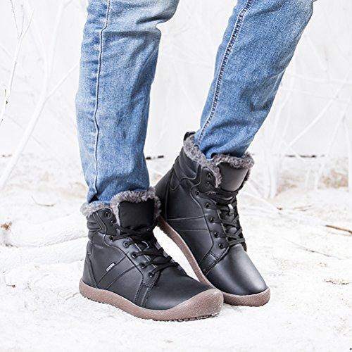 di Caloroso Invernali Scarpe AFFINEST Piatto Donna Outdoor Boots Neve Cotone Scarpe Impermeabile Felpa Nero Caviglia Trekking Stivali da Uomo OYFaqFxwP