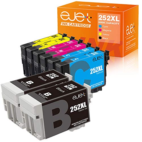 - ejet Remanufactured Ink Cartridge Replacement for Epson T252XL 252XL 252 to use with Workforce WF-7710 WF-7720 WF-3620 WF-3640 WF-7610 WF-7620 WF-3630 Printer 8 Pack