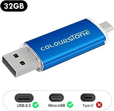OTGMemoria USB 2.0, Colourstone 32GB Pendrive del Puerto Dual ...
