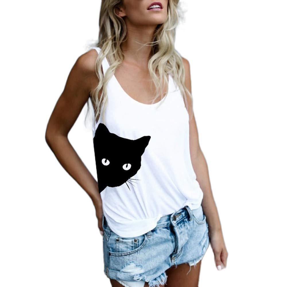 JFLYOU Fashion Women Clothes Casual Cat Print Tank Tops Blouse Sleeveless O Neck Vest T-Shirt(White,3XL)