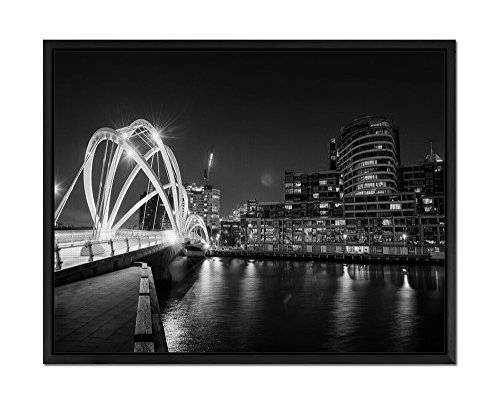 Bridge in melbourne - Art Print Wall Art Canvas stretched With Black Wooden Frame - Black and White - Ready To Hang - 24x16 Inches