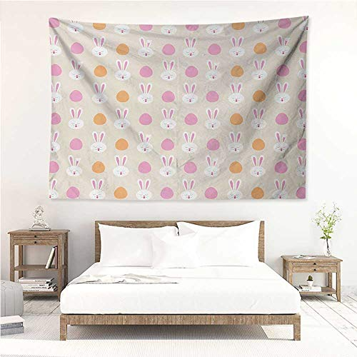 Easter,Wall Decor Tapestry Cartoon Style Childish Pattern with Bunny Faces and Egg Silhouettes 80W x 60L Inch Tapestry Wallpaper Home Decor Pale Pink Orange and Beige ()