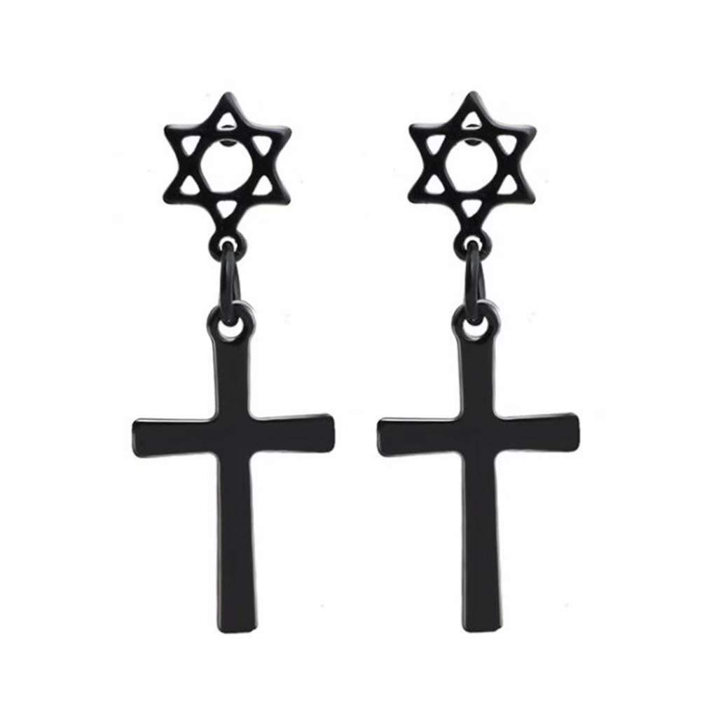 Black Dangle Cross Pierced Earrings, Men's Boys Stainless Steel Star of David Round Gauges Studs Earrings for Women & Girls