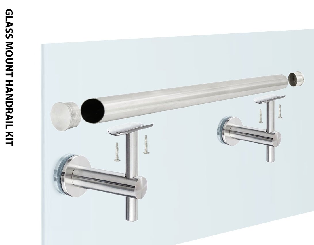 Stainless Steel 316 Glass Mount Staircase Handrail Kit: Handrail Bracket, 1-1/2'' OD Round Tubing [Custom-Made], Flat End Cap, 20 inch Length