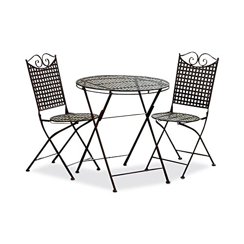 The French Bistro 3 Piece Table and Chairs Set, Basket Weave Pattern, Rust Resistant Lacquered Iron, Sturdy Solid Frames, Folding, 35 3/4 H Chairs, 28 H Table, By Whole House Worlds (Folding Frame Iron)