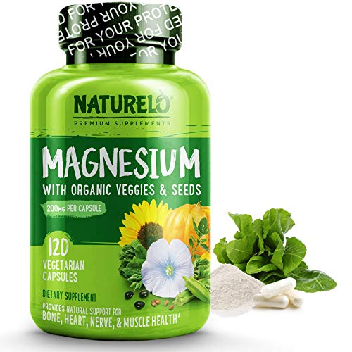 NATURELO Magnesium Glycinate Supplement - 200 mg Natural Glycinate Chelate with Organic Vegetables - Best for Sleep, Calm, Anxiety, Muscle Cramp & Stress Relief - Gluten Free, Non GMO - 120 Capsules (Best Foods For Muscle Cramps)