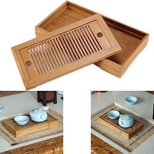 Winbang Bandeja de Te, Caja de la Bandeja de la Porcion de la Tabla de Te de Bambu Chino para el Ministerio del Interior de la Casa de Te, Rectangulo