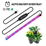 Full Spectrum led Strip, TBTeek Grow Light Strip Light with Auto ON & Off Function, 3/9/12H Timer, 10 Dimmable Levels and 3 Switch Modes for Indoor Plants, Red/Blue Spectrum
