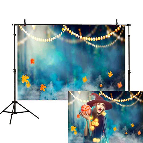 Halloween Fog Background (Allenjoy 7x5ft Halloween Photography Backdrop Witch Forest Cemetery Fog Maple Leaf Magic Bokeh Mysterious Horror Night Background Decoration Photo Studio)