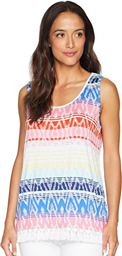 (Tribal Women's Printed Jersey Cami with Tassel Hem Blue Wave X-Large)