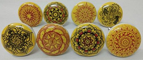- Multicolor Flat Ceramic knobs Ceramic Door Knobs Kitchen Cabinet Knobs Furniture Knobs Cabinet Drawer Knobs Ceramic Knobs (Yellow Mix)