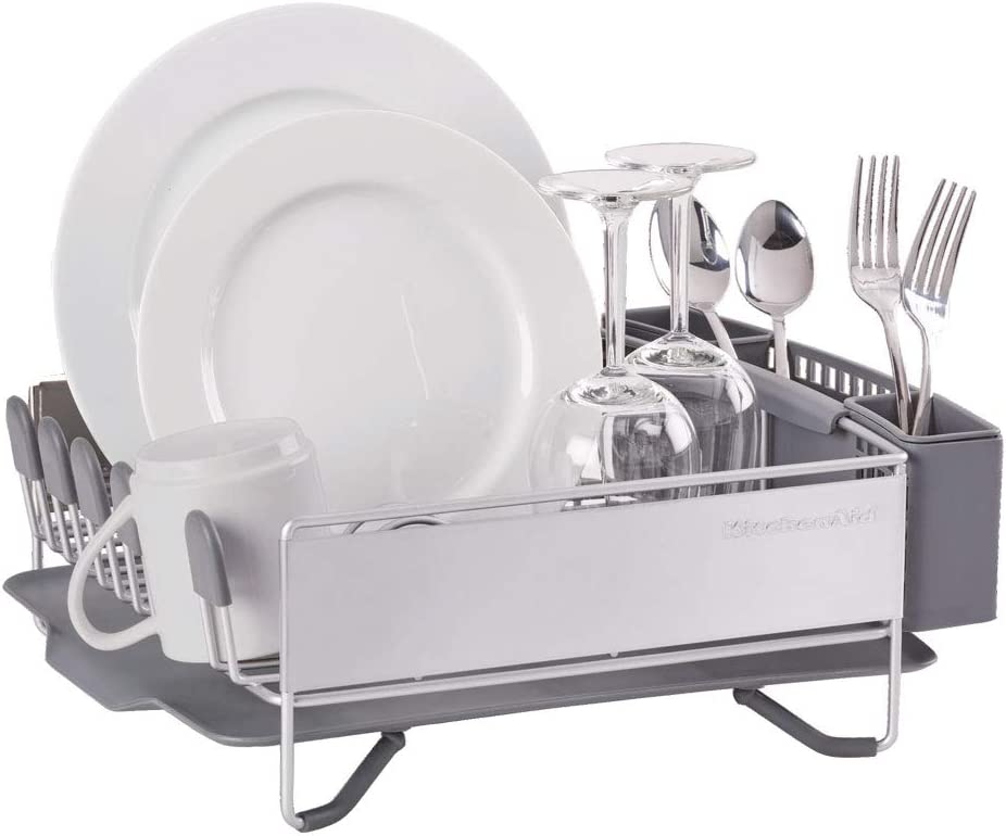 KitchenAid Compact Stainless Steel Dish Rack, Satin Gray, 15-Inch-by-13.25-Inch -