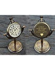 PORTHO Engraved Antique Desk Clock - Table Watch - Desktop Clock - Let us Never Forget The time we Spent Together Quote Engraved Gift Clock