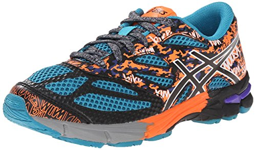 ASICS GEL Noosa Tri 10 GS Running Shoe (Little Kid/Big Kid),Flash Yellow/Flash Orange/Blue,6 M US Big Kid