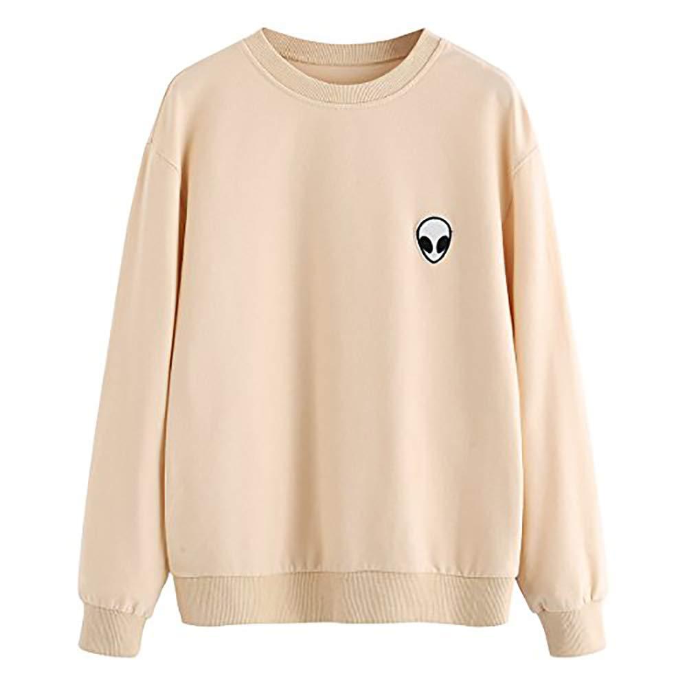 SweatyRocks Womens Casual Long Sleeve Pullover Sweatshirt Alien Patch Shirt Tops (Large, Apricot_Alien) …