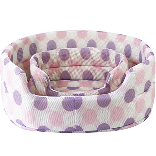 Cheap Dot Mesh Fabric Summer Pet Nest Kennel Small/Large Pet Dog Cat Bed Breathable Cool Pet Mat (S, Pink)