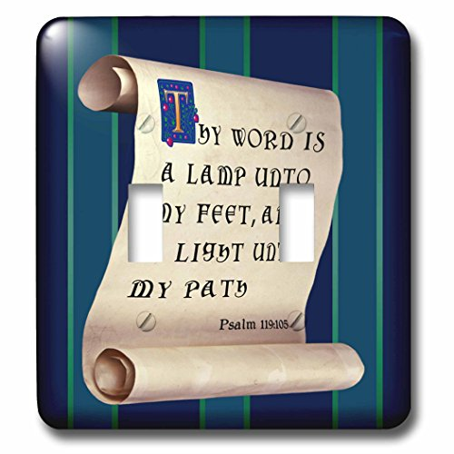 777images – Bible Promises – Psalm 119 verse 105 on a scroll with illuminated and medieval text – Light Switch Covers – double toggle switch (lsp_240594_2)