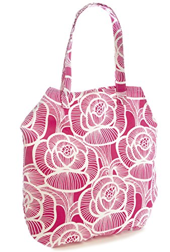 Floral Holiday Bag Shopping Folds Pink Shopper Beach Packable Print Flat Pool Canvas Ideal Swim qCY7E7
