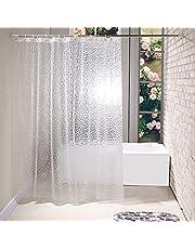 Heavy Duty EVA Shower Curtain Liner, Waterproof 3D Water Cube Clear Bathroom Shower Curtains, 71 x 71 in, 12 Hooks