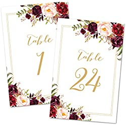 InvitationHouse Bold Floral Table Number Cards 1-24 - Double Sided 4x6 (Gold)