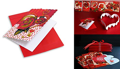 Mini-Hearts-Roses-Valentines-Greeting-Cards-With-Red-Envelopes-24-Cards-In-Assorted-Rich-And-Glittery-Colors-And-Designs-With-Beautiful-Scalloped-Edges-The-Ideal-Card-For-Someone-You-Love