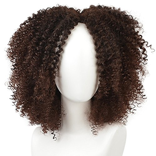 Search : KRSI Short Afro Kinky Curly Hair Wigs for Black African American Women Natural Brown Costume Synthetic Wigs that Look Real