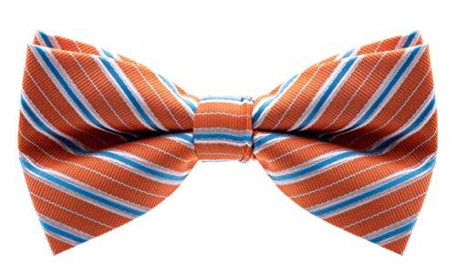 Orange Bowties (Bowtie - Striped Banded Bow Tie - Orange with Blue Stripes)