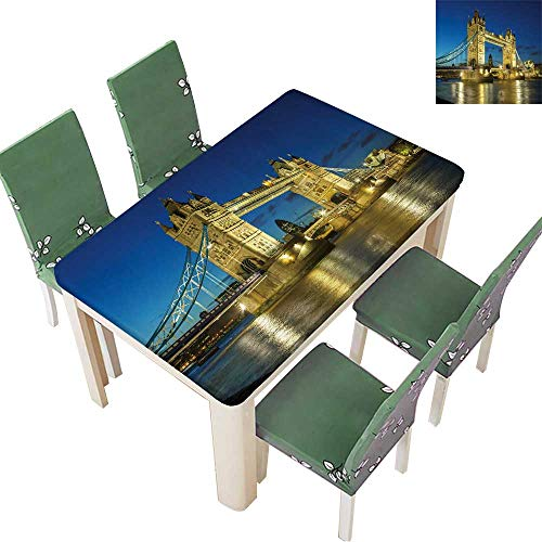 Printsonne Polyester Fabric Tablecloth Tower Bridge from The North Bank at Dusk,London,UK Suitable for Home use 52 x 108 Inch (Elastic Edge)