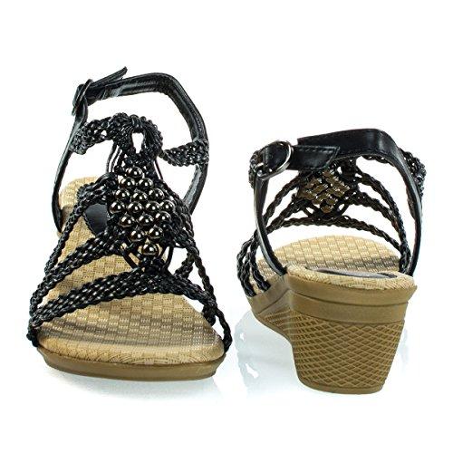 Bambus Enkelt Såle Lav Kile Sandal W Remmer Og Mansjetter 08 Svart