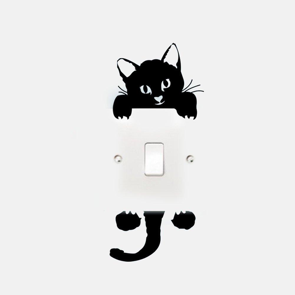 DDLBiz Interrupteur Vinyle Décoratif Autocollants Série - Chat Mignon, Chat et Papillon, Chat qui Dort, Guerres des Étoiles (Chat et Papillon, Noir)