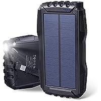 Soluser Cargador Solar Portátil con 25000mAh, Batería Externa Solar Batería de Emergencia Cargador Solar con 2 Puertos USB y Fuerte Antorcha LED para Smartphones Samsung iPhone y Tablet